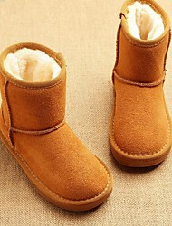 Girl's Boots Winter Comfort Cowhide Casual Flat Heel Black / Blue / Brown / Fuchsia Walking
