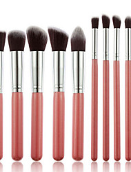 10 Makeup Brushes Set Synthetic Hair Professional / Portable Wood Handle Face/ Eye
