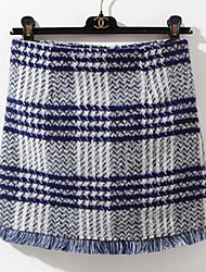 Women's Pencil Solid / Striped / Plaid Knitting Skirts,Going out / Casual/Daily Simple / Cute Mid Rise Mini Elasticity Faux Fur
