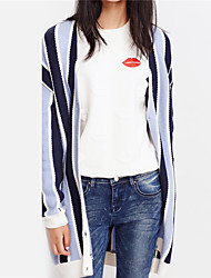 Metersbonwe Women's Casual/Daily Street chic Long CardiganStriped Blue / Pink V Neck Long Sleeve Acrylic Winter Medium Micro-elastic