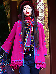 Our Story Women's Casual/Daily Boho CoatEmbroidered V Neck  Sleeve Fall / Winter Red Wool / Polyester