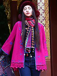 Feminino Casaco Casual Boho Outono / Inverno,Bordado Vermelho Lã / Poliéster Decote V-Manga ¾