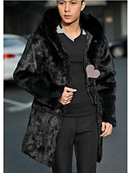 Men's Going out / Casual/Daily Simple Fur Coat,Solid Shirt Collar Long Sleeve Fall / Winter Black Faux Fur Medium