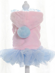 Dog Dress Dog Clothes Keep Warm Solid Blue Blushing Pink