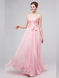 Floor-length Chiffon Floral Bridesmaid Dress - A-line Sweetheart with Appliques