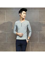 Tee-shirt Hommes,Couleur Pleine Décontracté / Quotidien simple Manches Longues Col en V Rouge / Noir / Gris Coton Moyen