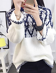Women's Casual/Daily Simple Short Pullover,Jacquard Blue / Red / Black Round Neck Long Sleeve Cotton Fall / Winter Medium Micro-elastic
