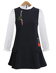 Women's Casual/Daily Simple A Line Dress,Floral Round Neck Above Knee Long Sleeve Blue / Red Polyester Fall / Winter Low Rise