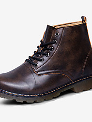 Men's Boots Fall Winter Comfort PU Casual Low Heel Lace-up Black Brown Gray Burgundy