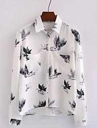 Для женщин На выход На каждый день Осень Зима Рубашка Рубашечный воротник,Простое Уличный стиль Цветочный принт Длинный рукав,Полиэстер,