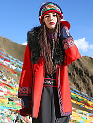 Our Story Women's Casual/Daily Boho CoatPrint Hooded Long Sleeve Winter Red Wool / Acrylic / Others