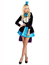 Burlesques/Clown Fête / Célébration Déguisement Halloween Noir / Bleu Imprimé Manteau / Robe / CoiffureHalloween / Noël / Carnaval /