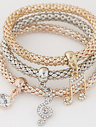 Women Fashion Simple Rhinestones Notes Charm Bracelet Gift