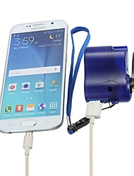 Travel phone hone charger Dynamo cell Hand usb hand Blue Emergency dynamo USB Mobile crank (Size: Android, Color: Blue)