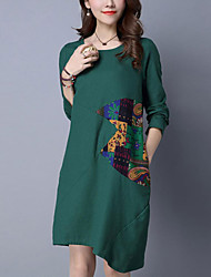 Women's Color Block Slim chic Loose DressPrint / Patchwork Round Neck Asymmetrical Long Sleeve Blue / Green Cotton / Linen SpringMid