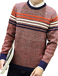 Men's Going out Casual/Daily Formal Vintage Simple Street chic Regular Pullover,Solid Striped Print Blue Red Yellow Round Neck Long Sleeve