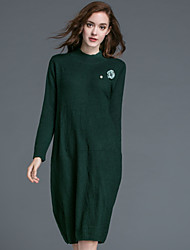 Dreamy Land Women's Casual/Daily Simple Swing DressSolid Round Neck Knee-length Long Sleeve Blue / Green Wool / Cotton Fall / Winter Mid Rise