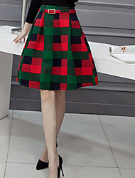 Women's A Line Plaid Skirts,Casual/Daily Mid Rise Knee-length Zipper Polyester Inelastic All Seasons