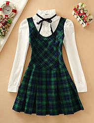 Mujer Línea A Vestido Casual/Diario Simple,A Cuadros Escote Chino Hasta la Rodilla Manga Larga Rojo / Negro / Verde / Amarillo Algodón