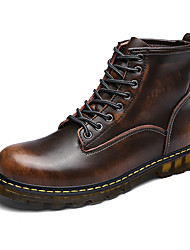 Men's Boots Spring Fall Winter Comfort Leather Outdoor Office & Career Casual Flat Heel Lace-up Black Brown Red Taupe Walking