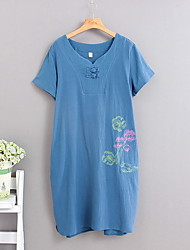Women's Casual/Daily Simple Loose Dress,Embroidered Round Neck Above Knee Short Sleeve Blue / White / Green Cotton Summer Mid Rise
