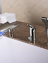 Contemporary Roman Tub LED / Waterfall / Handshower Included Chrome Ceramic Valve One Handle Three Holes for Bathtub Faucet