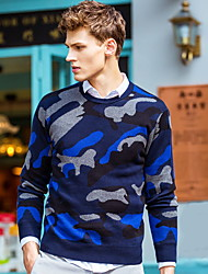 Men's Party Going out Vintage Street chic Regular Pullover,Patchwork Round Neck Long Sleeves Wool Cotton All Seasons Medium Micro-elastic