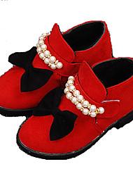 Flats Fall Winter Comfort Light Up Shoes Pigskin Outdoor Casual Flat Heel Bowknot Black Red Walking