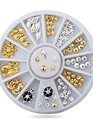 1pcs Cute Ocean Sea Life Gold Silver  Metal Alloy Nail Art Decorations Studs Wheel