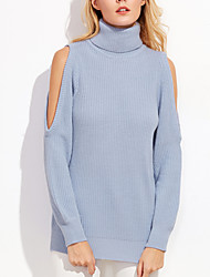 Spring Fall Women's Going out Casual Pullover Round Neck Long Sleeve Strapless Sweater