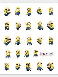 5 Pcs Cartoon Yellow Nail Decals Watermark To Stick Water Transfer Printing Nail Stickers