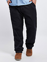 Men's Solid Black Chinos / Loose Pants,Simple Fall / Winter