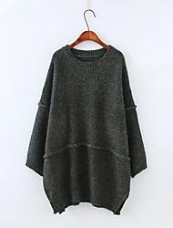 Damen Standard Pullover-Ausgehen Lässig/Alltäglich Einfach Niedlich Druck Braun Grün Lila Rundhalsausschnitt Langarm BaumwolleHerbst