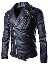 Men's Casual/Daily Simple Jackets,Solid Shirt Collar Long Sleeve Fall / Winter Black PU Medium