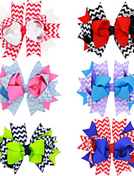 6Pcs/set Baby Girls Cheveron Printed Hair Bows Todder Hair Accessories Infant Hairband