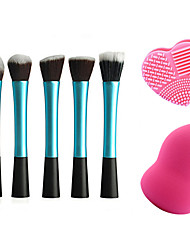 5pcs Makeup Brushes Set Professional Blush/Powder Brush Rose Red Powder Puff with Wash Egg