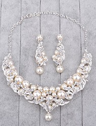 Jewelry 1 Necklace / 1 Pair of Earrings Imitation Pearl / Rhinestone Wedding 1set Women Silver Wedding Gifts