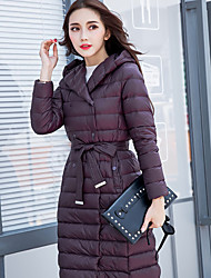 Women's Long Down Coat,Simple Casual/Daily / Formal Solid-Nylon White Duck Down Long Sleeve Black / Gray / Green / Purple