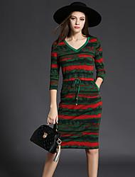 Gaine Robe Femme Décontracté / Quotidien Chic de Rue,camouflage Col en V Mi-long Manches ¾ Vert Coton / Polyester Automne Taille Haute