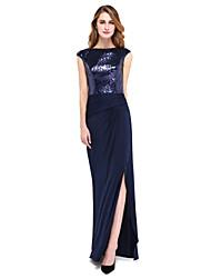 Lanting Bride® Tubinho Vestido Para Mãe dos Noivos - Brilho & Glitter Longo Sem Mangas Paetês / Microfibra Jersey  - Fenda Frontal /