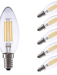 3.5 E14 Ampoules à Filament LED B 4 COB 350/400 lm Blanc Chaud / Blanc Froid Gradable AC 100-240 V 6 pièces