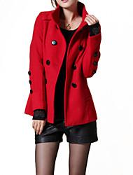 Women's Vintage/Work Thick Long Sleeve Regular Coat (Cotton/Wool Blends)