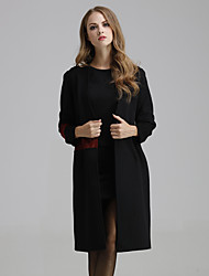 Women's Going out / Casual/Daily Simple Coat,Solid Round Neck Long Sleeve Black / Gray Polyester Medium