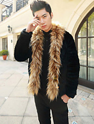 Men's Casual/Daily Simple Fur Coat,Solid Shirt Collar Long Sleeve Winter Black Faux Fur Medium