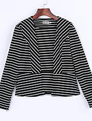 Damen Gestreift Sexy Lässig/Alltäglich Jacke,Hemdkragen Frühling Langarm Weiß / Schwarz Modal Undurchsichtig