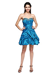2017 TS Couture® Prom Cocktail Party Dress - Mini Me A-line Sweetheart Short / Mini Taffeta with Beading / Bow(s) / Draping / Pick Up Skirt
