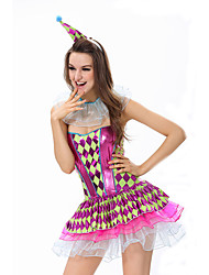 Costumes de Cosplay Burlesques/Clown Cosplay de Film Incarnadin A Carreaux Robe / Coiffure Halloween / Carnaval Féminin Polyester