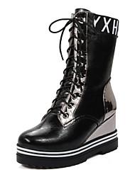 Women's Boots Winter Platform Microfibre Casual Wedge Heel Lace-up Black Red Silver Beige Walking