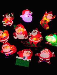 4pcs cadeau de Noël a conduit incandescent noël cerf bonhomme lueur clignotante Broche bande dessinée badges jouet arbre de noël