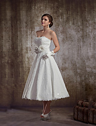 A-line Wedding Dress - Reception Tea-length Strapless Lace with